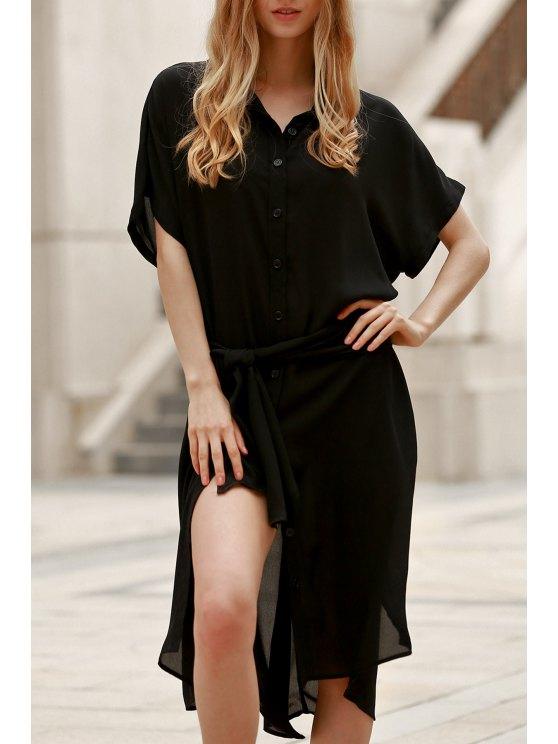best Short Sleeve Loose Dress - BLACK S