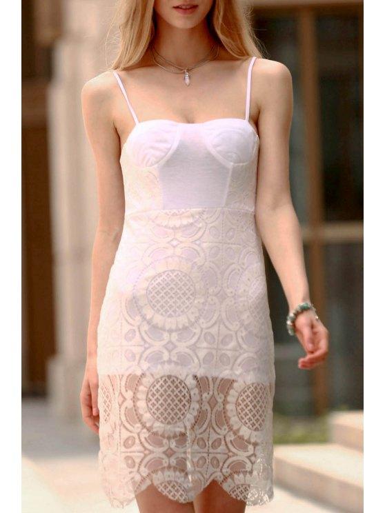 Vestido Ceñido de Encaje con Tirante Fino - Blanco L