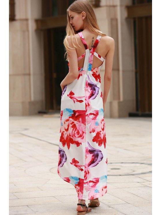 Irregular Hem Flower Print Dress - WHITE XL Mobile