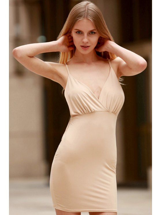Women Spaghetti Strap Backless Club Dress - KHAKI S Mobile