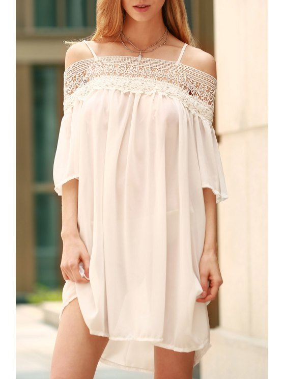 womens Lace Splicing Boat Neck Spaghetti Straps Dress - WHITE L