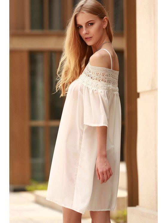 Lace Splicing Boat Neck Spaghetti Straps Dress - WHITE XL Mobile