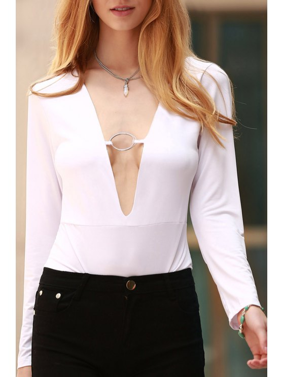 Long Sleeve Skinny Cut Out Bodysuit - WHITE M Mobile