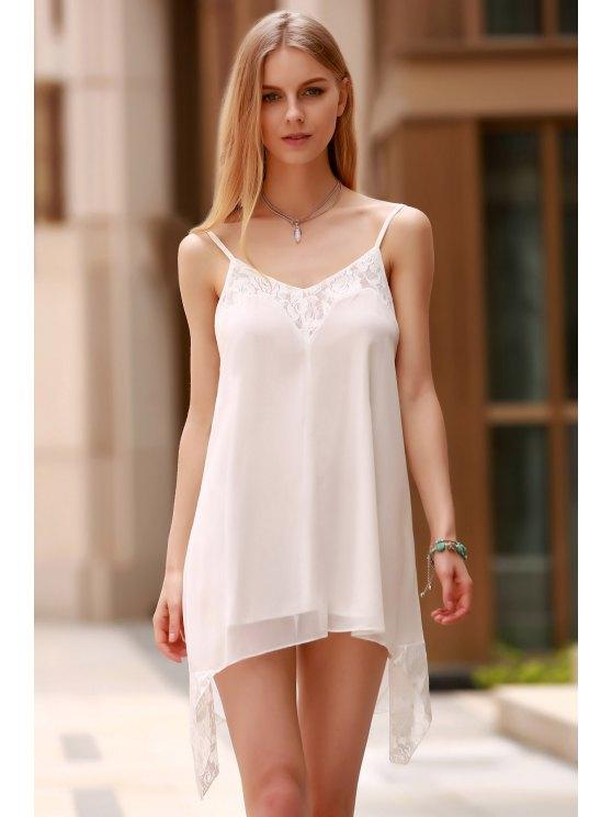 Lace Spliced Spaghetti Straps Solid Color Dress - WHITE L Mobile