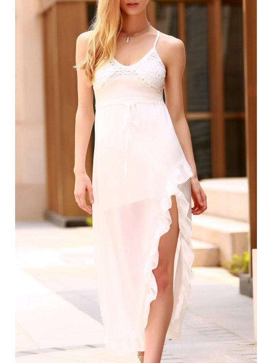 outfits Lace Spliced Spaghetti Straps High Slit Dress - WHITE L