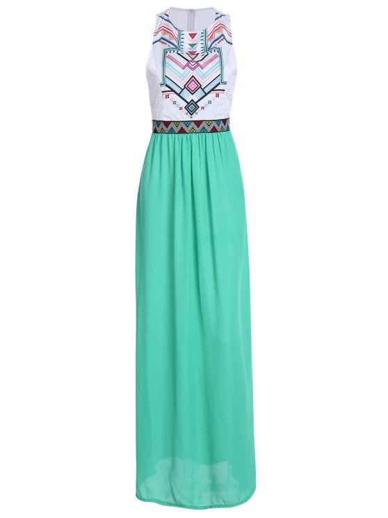 chic Geometric Print Splicing Sleeveless Maxi Dress - WHITE S
