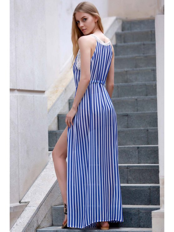 Vertical Striped Slit Dress - BLUE AND WHITE XL Mobile