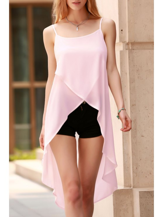 outfit Solid Color Irregular Hem Spaghetti Straps Chiffon Tank Top - PINK XL