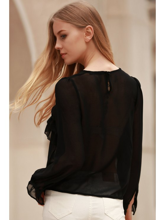 Bowknot Embellished See-Through Blouse - BLACK L Mobile