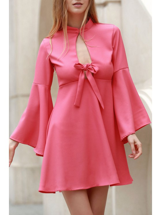 lady Flare Sleeve Cutout Swing Dress - PINK M