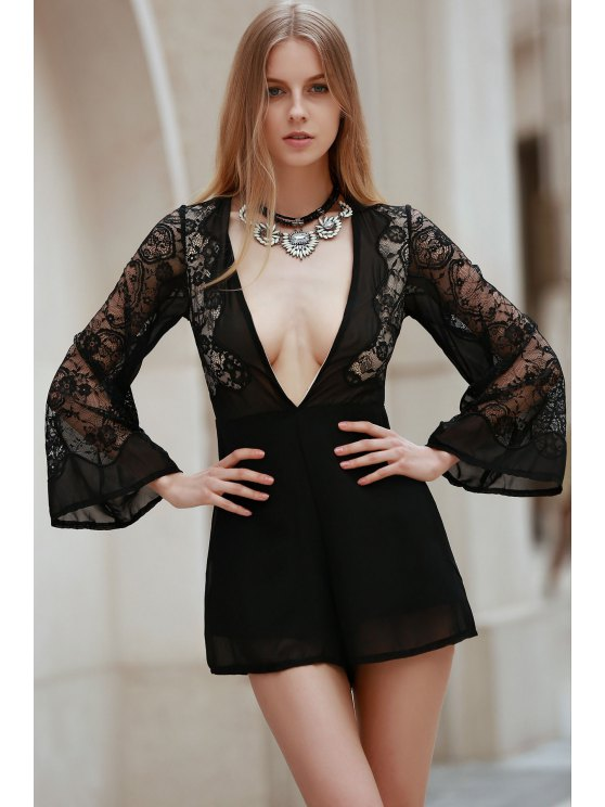 Plunging Neck Combined Lace Romper With Neck Bow - BLACK S Mobile