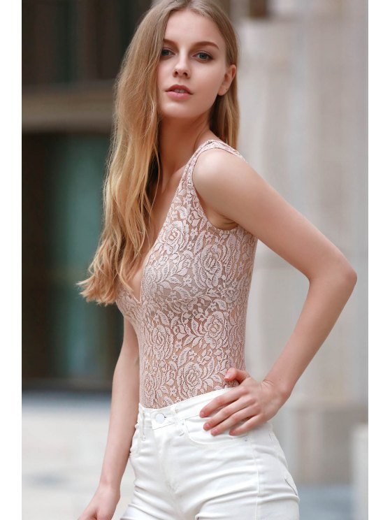 Lace Cut Out Plunging Neck Short Sleeve Romper - YELLOWISH PINK 2XL Mobile