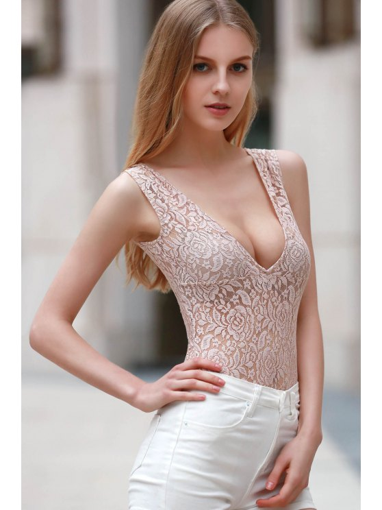 Lace Cut Out Plunging Neck Short Sleeve Romper - YELLOWISH PINK L Mobile