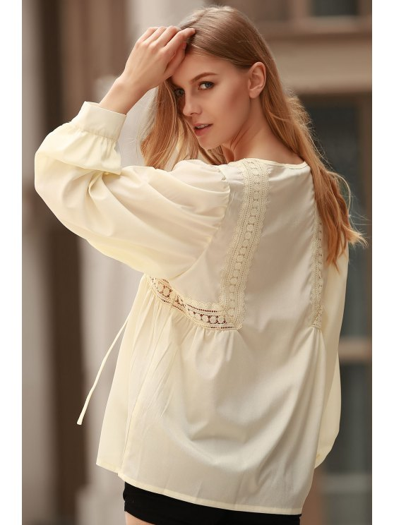 White Lace Up Jewel Neck Blouse à manches longues - Citron M