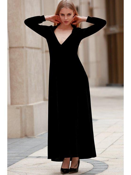 Black Velvet Plunging Neck Long Sleeve Dress - BLACK L Mobile