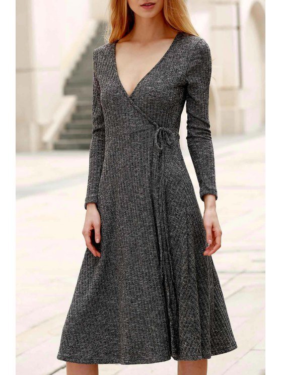 buy Low Cut Long Sleeve Midi Dress - GRAY 2XL