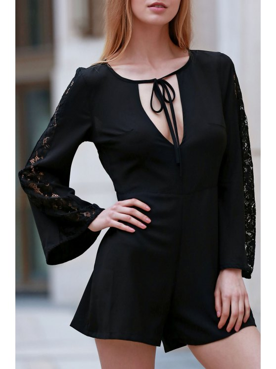 lady Black Lace Splicing Plunging Neck Long Sleeve Romper - BLACK S