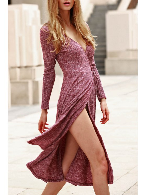 Low Cut Long Sleeve Midi Dress - CLARET M Mobile