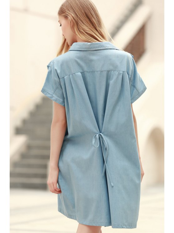 Loose Retro Turn-Down Collar Short Sleeve Dress - LIGHT BLUE S Mobile