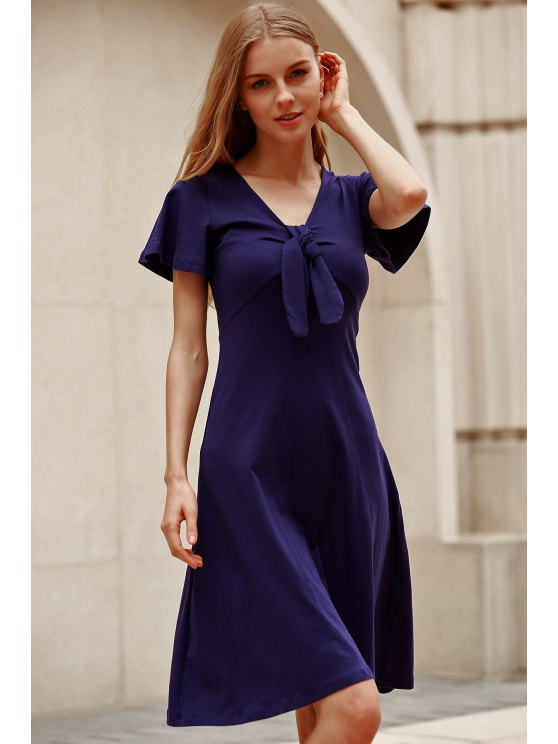 Solid Color Plunging Neck Short Sleeve Midi Dress - NAVY BLUE 2XL Mobile