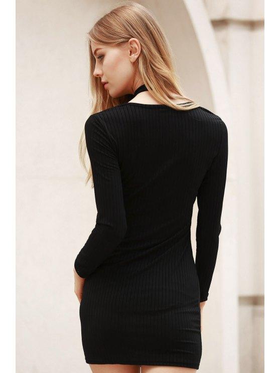 Long Sleeve Black Bodycon Dress - BLACK L Mobile