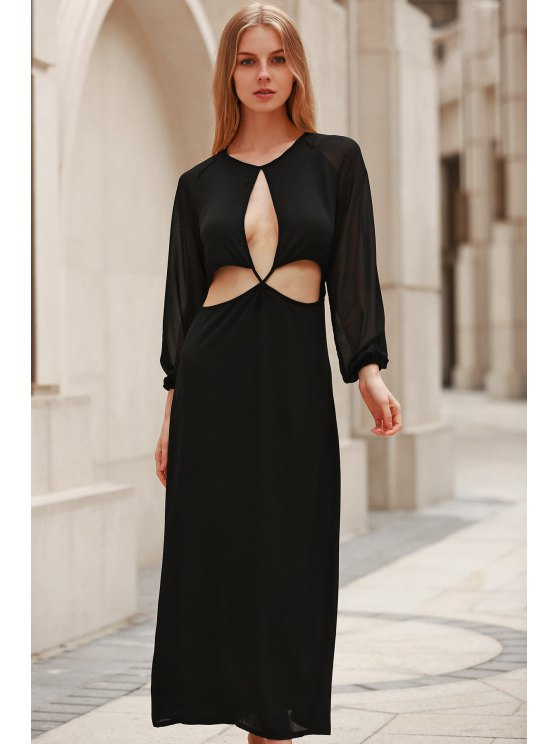 Hollow Out Long Sleeve Backless Maxi Dress - BLACK S Mobile