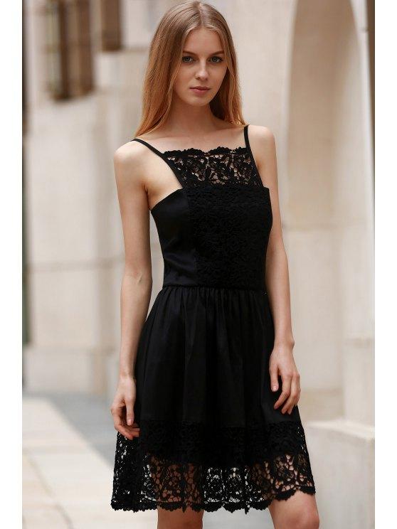 Semi Formal Lace Spliced Cami Black Dress - BLACK XL Mobile