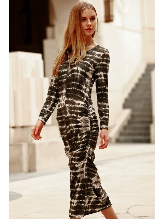 Abstract Print Long Sleeve Bodycon Dress - GREEN L Mobile