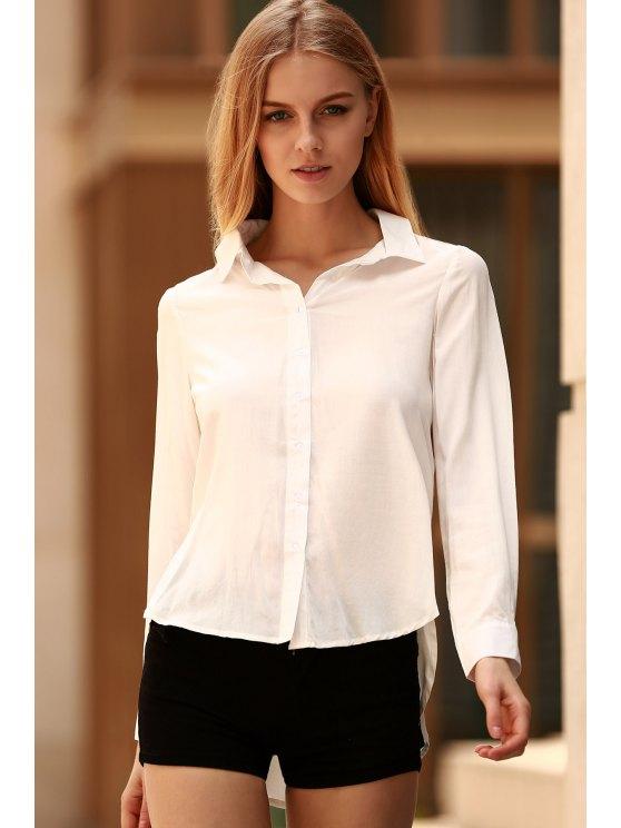 White Side Slit Long Sleeve Shirt - WHITE M Mobile