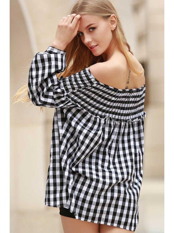 A cuadros plisada con cuello redondo manga larga blusa - Blanco y Negro S