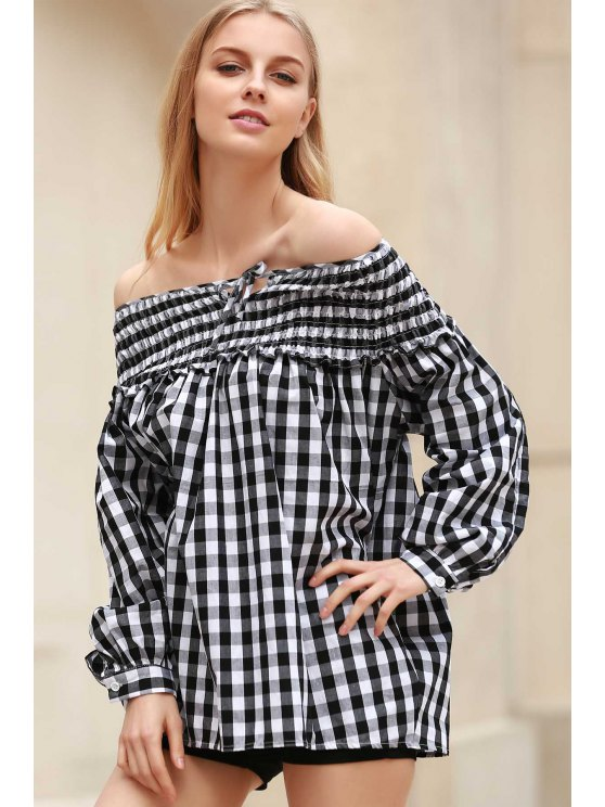 Plaid Pleated Scoop Neck Long Sleeve Blouse - WHITE AND BLACK S Mobile