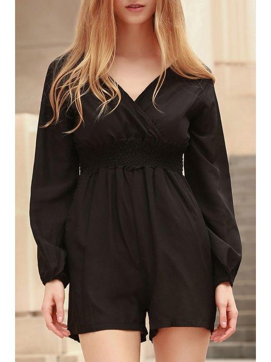 shops Solid Color Plunging Neck Long Sleeves Romper - BLACK M