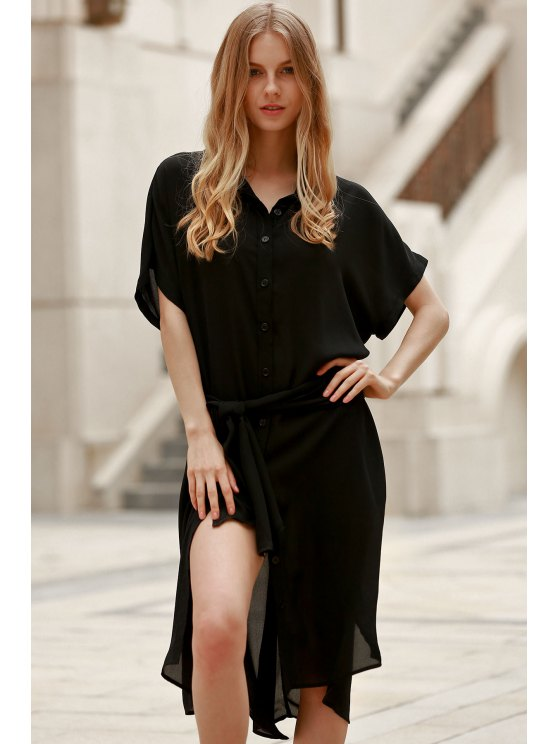 Short Sleeve Loose Dress - BLACK 2XL Mobile