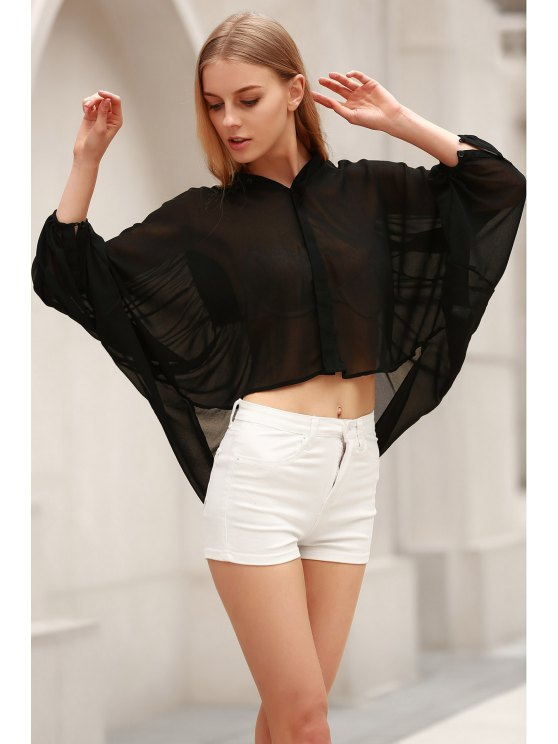 Black Stand Neck Half Sleeve See-Through Blouse - BLACK S Mobile