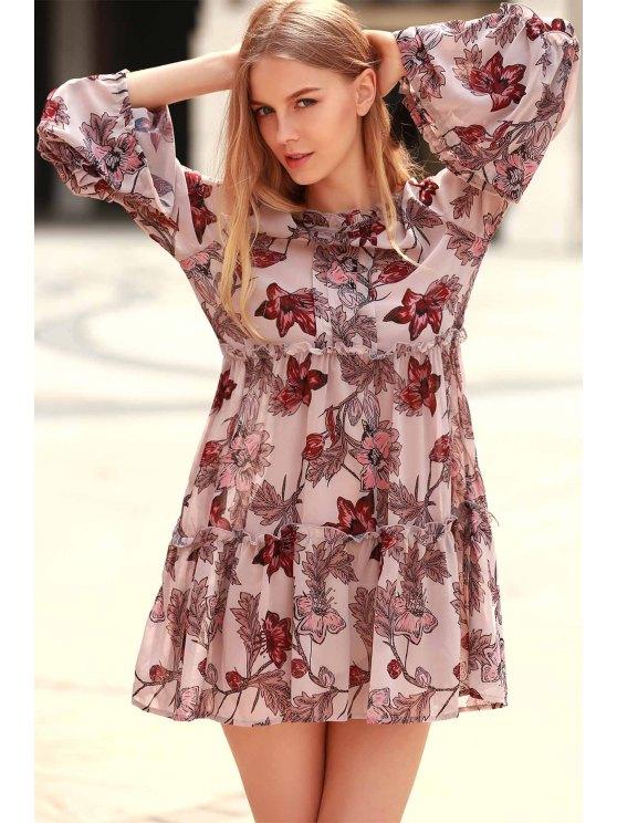 Impresión floral con gradas de una línea de vestidos - Colormix 2XL