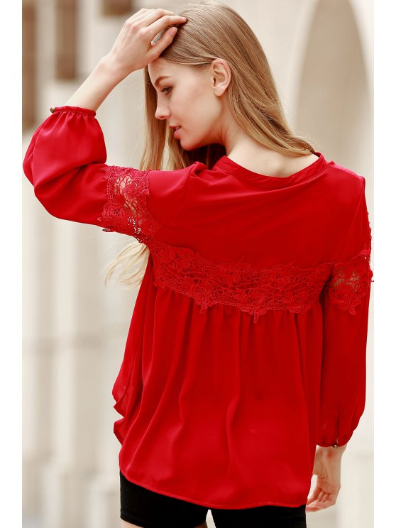 Lace Splicing V Neck Lantern Sleeve Blouse - RED M Mobile