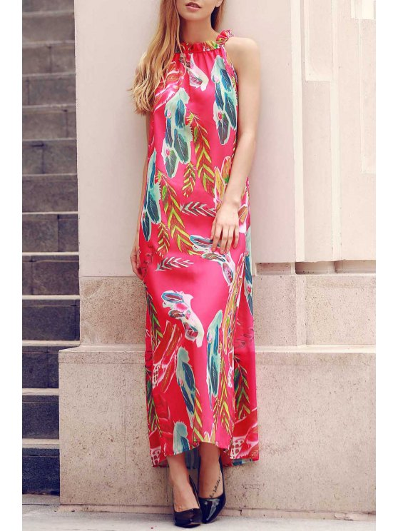 new Flower Print Round Neck Sleeveless Chiffon Dress - RED XL