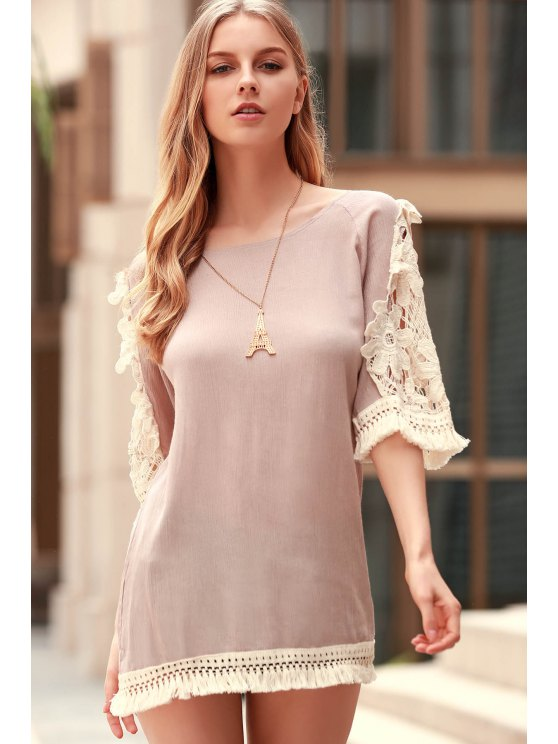Perspective Lace Splicing Round Neck 3/4 Sleeve Dress - LIGHT KHAKI L Mobile