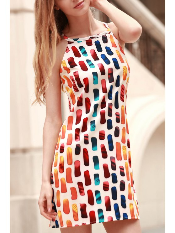 online Printed Round Collar Loose Fitting Dress - COLORMIX L