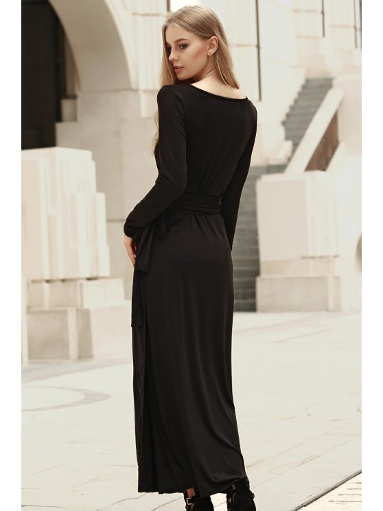 Self Tie Plunging Neck Long Sleeve Maxi Dress - BLACK S Mobile