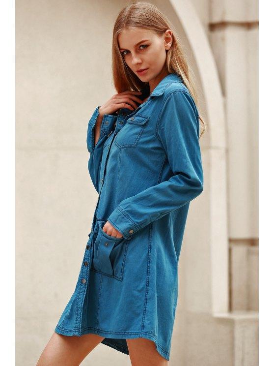 Blue Denim Long Sleeve Shirt Dress - BLUE M Mobile