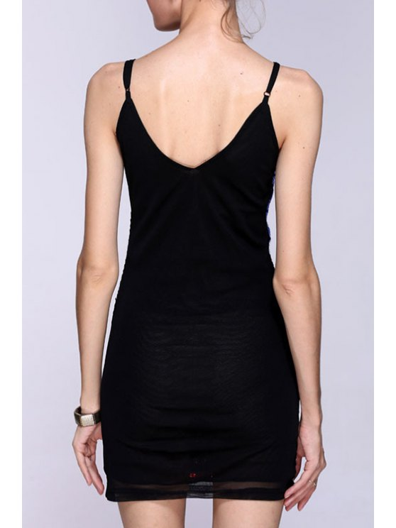 Sequined Color Block Spaghetti Straps Sleeveless Dress - BLUE ONE SIZE(FIT SIZE XS TO M) Mobile