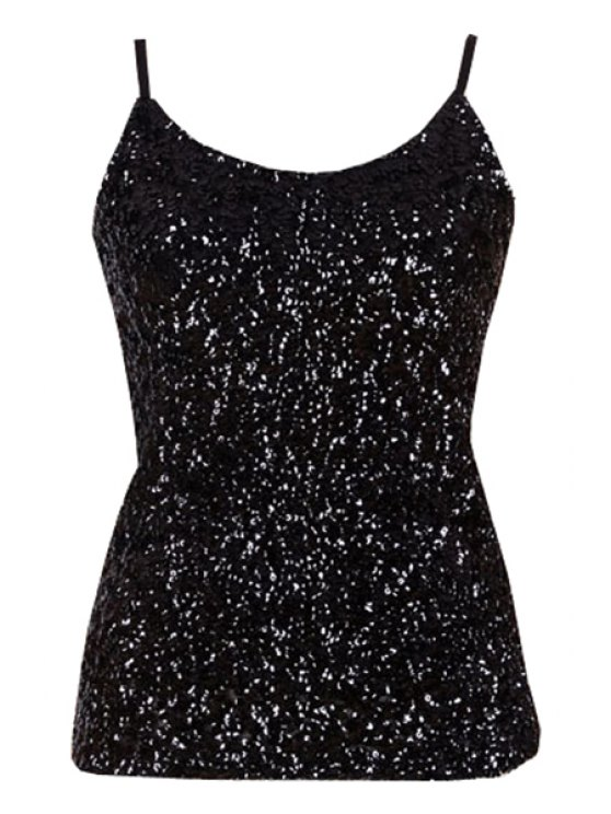 womens Sequin Solid Color Spaghetti Straps Tank Top - BLACK ONE SIZE(FIT SIZE XS TO M)