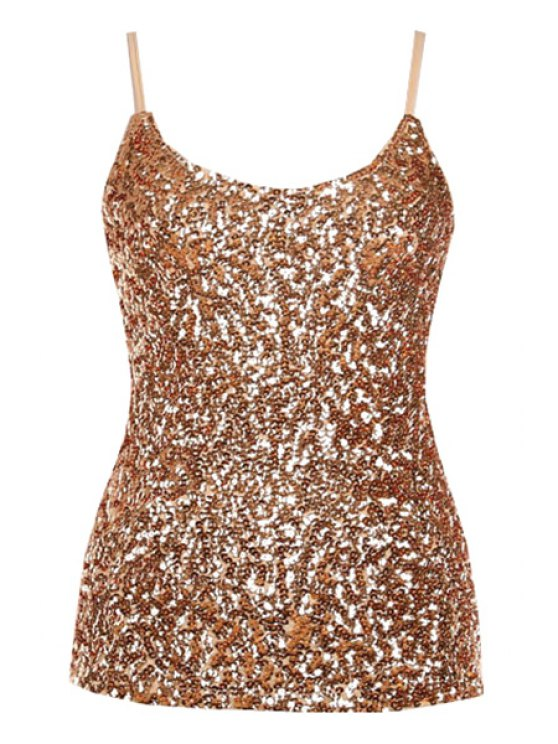 unique Sequin Solid Color Spaghetti Straps Tank Top - GOLDEN ONE SIZE(FIT SIZE XS TO M)