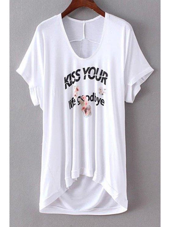 Impresión de la letra T del cortocircuito del cuello de la manga de la camiseta - Blanco M