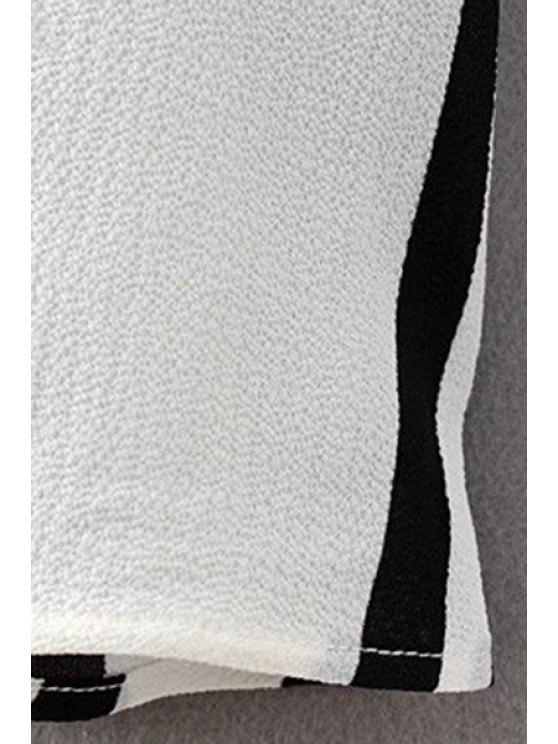 Stripe High Waist A Line Skirt - WHITE AND BLACK S Mobile
