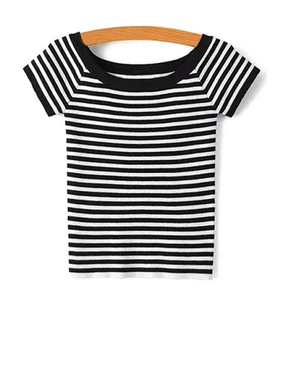 Recortar cuello de punto a rayas de la camiseta - Negro S