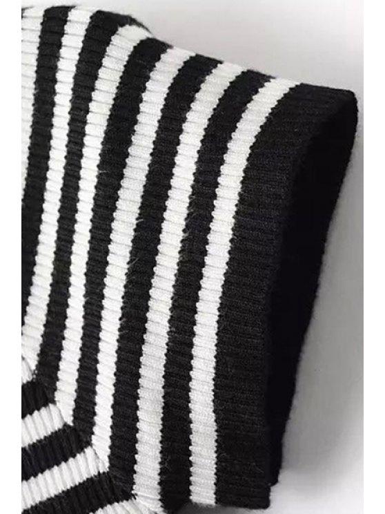 Slash Neck Striped Knit T-Shirt - BLACK S Mobile