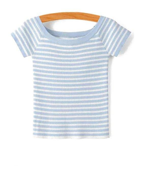 Slash Neck Striped Knit T-Shirt - LIGHT BLUE M Mobile