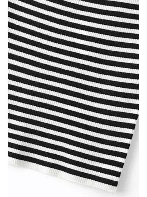 Slash Neck Striped Knit T-Shirt - LIGHT BLUE S Mobile